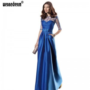 New Sapphire Plus Size Long Evening Dress Bow Perspective Sexy Elegant Formal Gown Party Prom Wedding Dress Thumbnail
