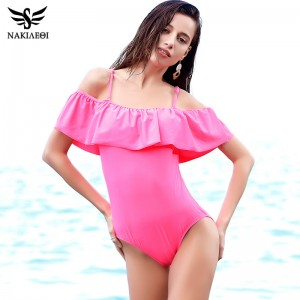New Sexy Off The Shoulder Solid Swimwear Women One Piece Swimsuit Female Bathing Suit Ruffle Monokini Swim Wear XL
