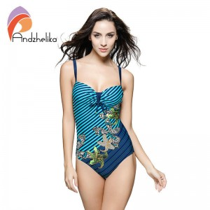 New Sexy One Piece Women Swimwear Striped Star Printing Backless Bodysuit Plus Size Bikini Set For Women Thumbnail