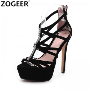 New Summer Gladiator Sandals Women Brand Design Top Quality Flock Women Sandal Fashion High Heels Party Ladies Shoes