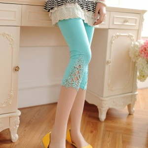 New Summer Hollow Modal Cotton Elastic Leggings Triangle Lace Stretch Sexy For Women Thumbnail
