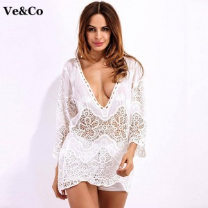 New Summer Women Beach Cover Up Sexy Bathing Swimsuit Cover Up Crochet Beach Dress Tunic V Neck For Women Thumbnail