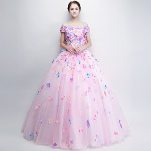 New Sweet Colorful Flower Prom Dress Romantic Flower Fairy Floor Length Long Formal Party Romantic Gown For Women