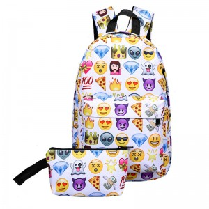 New Women Canvas Backpacks Smiley Design Emoji Face Printed School Bags For Teenage Girls Shoulder Bags