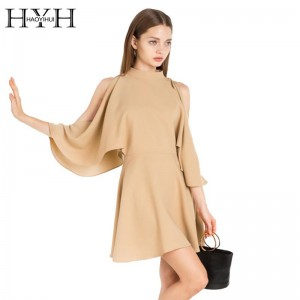 New Women Cold Shoulder Crew Neck Bat Wing Autumn Mini Dress Casual Elegant High Waist A Line Dress