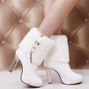 New Women Designer Chunky High Heel Autumn Winter Martin Boots For Women Thumbnail