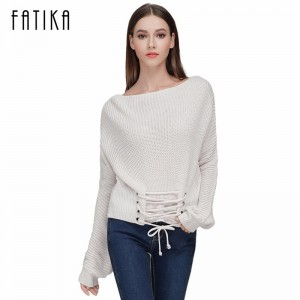 New Women Fashion Loose Knitted Pullover Sleeve Lace up Long Sleeves Off Shoulder Sexy Sweater Tops For Woman