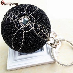 New Women Hand Beaded Handbags Luxury Pearl Diamond Evening Wedding Bridal Round Ball Clutches For Women Thumbnail