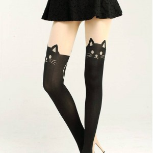 New Women Sexy Cat Tail Velvet Knee High Socks Stocking Legging Tatoo Design Thumbnail