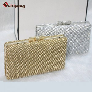 New Women Top Quality Clutches Full Diamond Hard Box Evening Rhinestone Bow Wedding Party Bridal Clutch Thumbnail