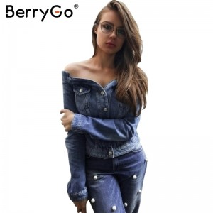 Off shoulder denim jacket coat Women sexy autumn slash neck jeans outerwear coat Female casual winter basic jackets