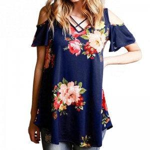 Off Shoulder Floral Printed Women Blouse Shirts 2018 Summer Loose Short Sleeve V Neck Blouses Elegant Female Blusas