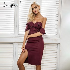 Off shoulder ruffle sexy bodycon dress women Split high waist elegant wine red party dresses Autumn winter dress robe