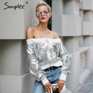 Off shoulder sequin jacket coat female Casual streetwear zipper future outerwear Elastic gray winter coat women