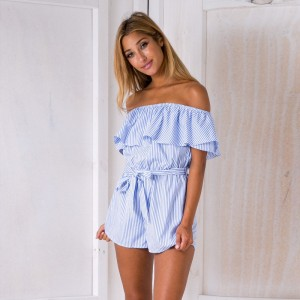 Off the Shoulder Ruffles Blue Stripe Women Rompers Casual Loose Sexy Backless Strapless Playsuit Overalls Short Pant