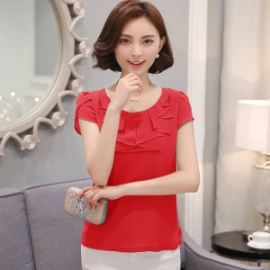 Office Shirts Blouses Elegant Chiffon Short Sleeve Cool Summer For Women Thumbnail