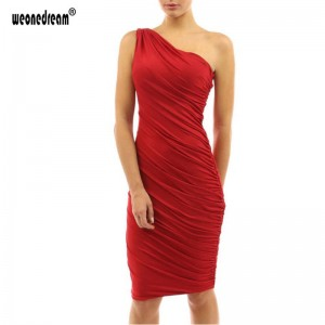 One Shoulder Cocktail Slim Sexy Bodycon Party Formal Dresses Summer Special Occasion Prom Dress Midi Women Thumbnail