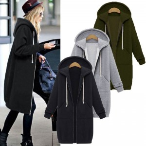 Oversized Autumn Women Casual Long Hoodies Sweatshirt Coat Pockets Zip Up Outerwear Hooded Jacket Plus Size Tops
