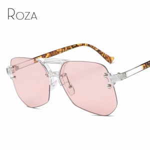 Oversized Rimless Sunglasses For Female Unisex Mirror UV400 Polarized Lens Retro Big Alloy Frame Shes