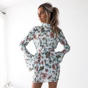 Party Ware Women Dresses Autumn Floral Printed Long Sleeve Sexy Slim Backless Girls Dress Party Dresses For Ladies