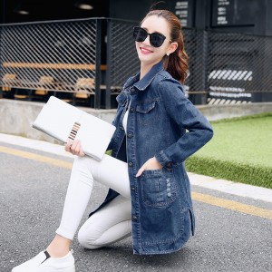 Plus Size 3XL Autumn Fashion Broken Hole Long Sleeve Ladies Denim Jacket New Arrival Vintage Slim Jeans Women Tops