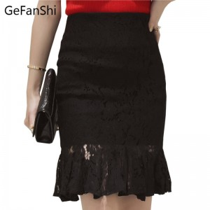 Plus Size New Fashion High Waist Pencil Skirts Lace Ruffles Cute Elegant For Women Thumbnail