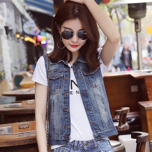 Plus Size New Summer Jacket Sleeveless Casual Slim Jeans Vest Vintage Fashion Short Paragraph Denim Vest Women
