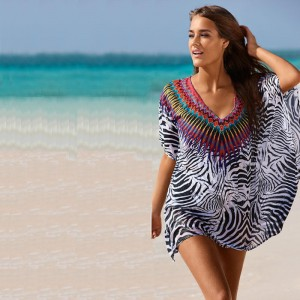 Plus Size Summer Beach Dress Tunic Blouse Brazilian Style Beach Cover Ups Bathing Suits Zebra Printed Summer Outfits
