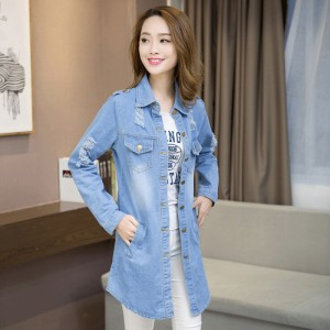 Plus Size Women Denim Jacket Coat Jaqueta Feminina Spring New Korean Casual Medium Long Hole Jeans Jacket Women