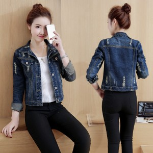 Plus Size Women Denim Jacket Long Sleeve Hole Jeans Coats Autumn Vintage Oversized Outwear Abrigos Mujer jaqueta