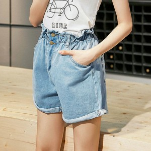 Plus Size Women Shorts Elastic Denim Clothes Loose Wide Legged High Waist Denim Shorts New For Women Thumbnail