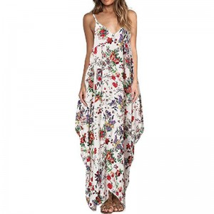 Print Floral Loose Boho Bohemian Beach Dress Women Sexy Strap V Neck Retro Vintage Long Maxi Dress Summer Plus Size
