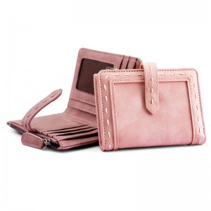 Pu Leather Female Bifold Purse Wallet Vintage With Zipper Short Card Holder New Arrival For Women Thumbnail