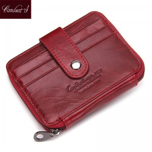 Real Genuine Leather Women Card Holder Wallet Cowhide Small Purse Credit Card Coin Wallet Women Thumbnail