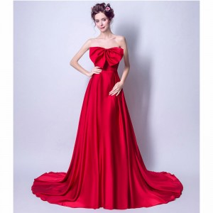 Red Hot Sleeveless Strapless Evening Dresses Bow Sexy Floor Length Romantic Evening Party Evening Gown