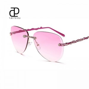 Rimless Female Sunglasses Alloy Frame Gradient Lens UV400 Polarized Luxury Adult Femino Sun Eyewear