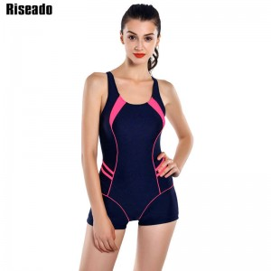 Riseado New Sports One Piece Swimsuit Swimwear For Women Retro Shorts Backless Bathing Suits Bikini Women Thumbnail