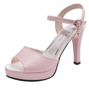 Sandals Women Shoes Solid Color Open Toe Sandals Female Sexy Thin Heels High Heels One Word Buckle Shoes