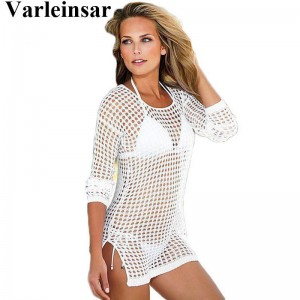 See Through Sexy Swimwear Dress Crochet Cover Up Beach Bikini Knitting Swimsuit For Women New Arrival Thumbnail