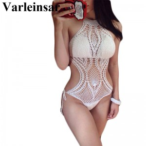 Sexy Fish Net Knit Crochet One Piece Swimsuit Swimwear For Women Bathing Suit Beach Suit Bikini For Women Thumbnail