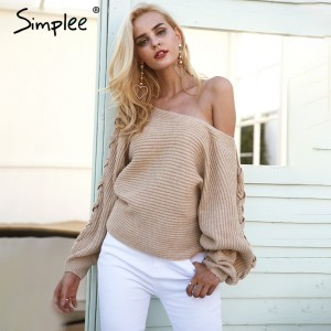 Sexy lace up winter knitted sweater pullover Women one shoulder loose sweater jumper Autumn batwing sleeve gray sweater