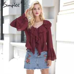 Sexy ruffle chiffon blouse shirt Autumn flare sleeve deep v neck women blouses Casual transparent streetwear blouse