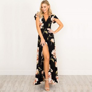 Sexy Women V Neck Maxi Dress Floral Print Party Wear Dress Long Dresses Female Casual Beach Outwear For Females