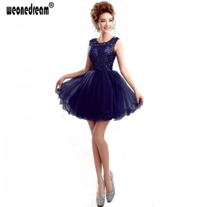 Short Blue Black Prom Dress A Line Backless Dress Party Plus Size With Zipper Knee Length Gown For Women Thumbnail