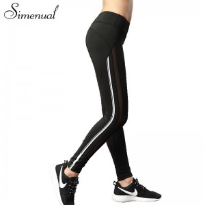 Simenual Mesh Striped Women Leggings Authentic Fitness Sexy Summer Fitness Pants Elastic Push Up Jeggings Thumbnail