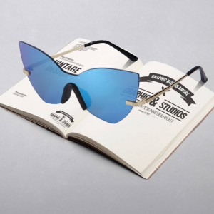 Simple Men Women Spring Sunglasses Smooth Mirror Metal Frame UV400 Polarized Unisex Goggle Rimless Design