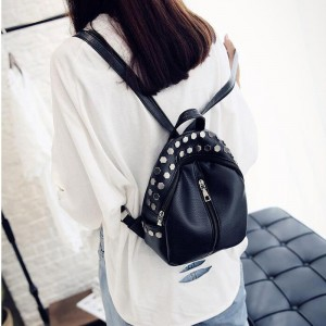 Small Preppy Backpack Small Rivet Zipper Pu Leather Bag For Girls Latest Designer Fashion Backpacks For School Girls