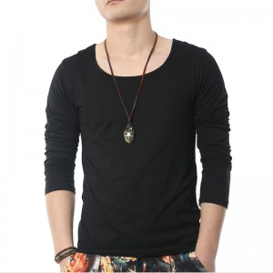 Solid Long Sleeve T Shirts Men Square Collar Cotton Geek Black Fashion Clothing Style Tops Tees For Guys