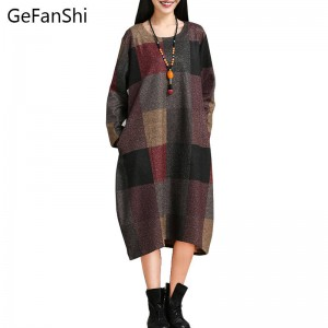 Spring Autumn Fashion Plaid Pattern Comfortable Fabric Long Sleeve Casual Dress For Women Thumbnail