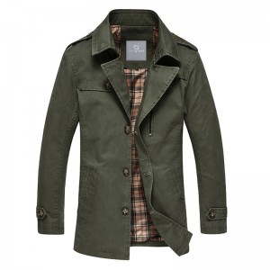 Spring Autumn Hot Sale Mens Blends Turn Down Collar Casual Jacket Coat Mid Long Style Trench Male Outwear